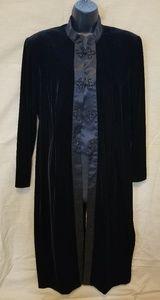 Vintage Black Velvety & Satiny Feel Long Duster